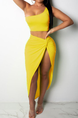 Yellow Euramerican Women Ruffle Solid Color One Shoulder High Split Skirts Sets MY9268-1