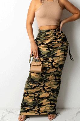 Camel Fashion Camouflage Print Ruffle Drawsting Slim Fitting Maxi Skirts ZNN9110-2