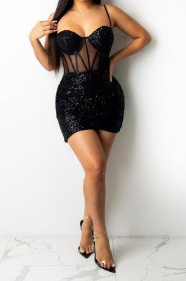 Black Euramerican Women Pure Color Sequins Sexy Condole Belt Strapless Perspectivity Mesh Spaghetti Skirts Sets Q949-2