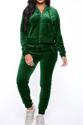 Dark Green Women Korea Velvet Ribber Spliced Pure Color Long Sleeve Cardigan Hooded Casual Pants Sets Q950-4