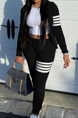 Black Newest Striple Spliced Long Sleeve Zipper Hooded Coat Sweat Pants Sets YX9296-1