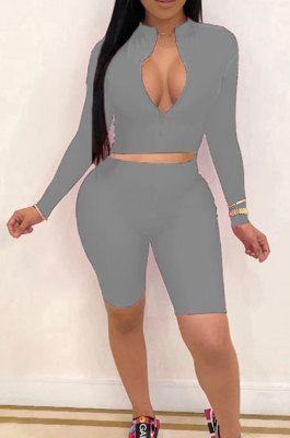 Gray New Wholesale Long Sleeve Stand Collar Zipper Crop Top Shorts Solid Color Sets YSH6162-3