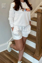 White Casual Pattern Print Long Sleeve Round Neck T-Shirt Shorts Sport Sets ZNN9109-3