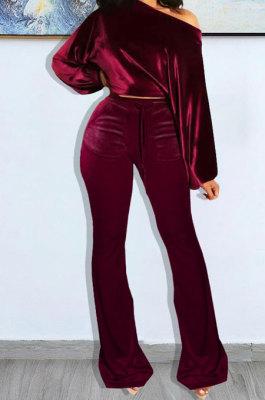 Wine Red Wholesale Velvet Long Sleeve Oblique Shoulder Top Flare Pants Solid Color Sets YX9298-2