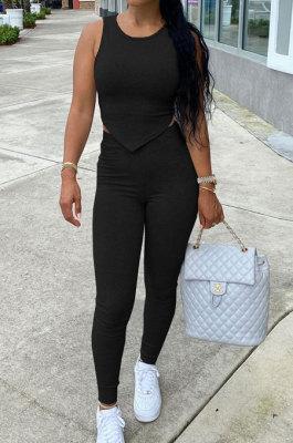 Black Euramerican Fashion Women Tight Super Elastic Tank Pure Color Pants Sets HR8186-2