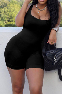 Black Wholesale New Solid Color Slim Fitting Tank Jumpsuits YSH86243-3