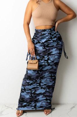 Black Fashion Camouflage Print Ruffle Drawsting Slim Fitting Maxi Skirts ZNN9110-3