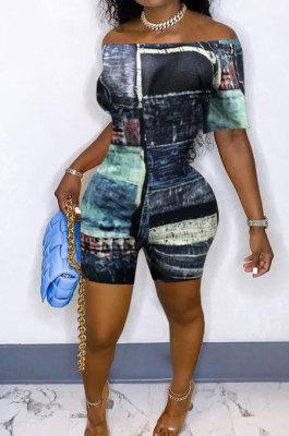 Blue New Print Off Shoulder Short Sleeve Slim Fitting Romper Shorts YSH86248