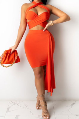 Orange Summer Sexy Strapless Warp Skirts Solid Color Sets YSH6229-12