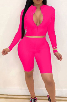 Rose Red New Wholesale Long Sleeve Stand Collar Zipper Crop Top Shorts Solid Color Sets YSH6162-1