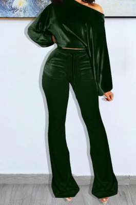 Drak Green Wholesale Velvet Long Sleeve Oblique Shoulder Top Flare Pants Solid Color Sets YX9298-3