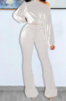 White Wholesale Velvet Long Sleeve Oblique Shoulder Top Flare Pants Solid Color Sets YX9298-4