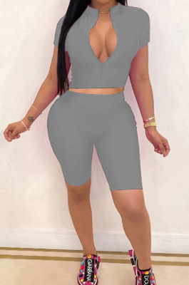 Gray Simple Pure Color Short Sleeve Zip Fron Crop Top Shorts Casual Sets YSH6163-4