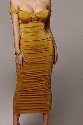 Yellow Ruffle Sexy A Word Shoulder Bodycon Pure Color Korea Velvet Long Dress MY9351-2