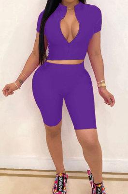 Purple Simple Pure Color Short Sleeve Zip Fron Crop Top Shorts Casual Sets YSH6163-6
