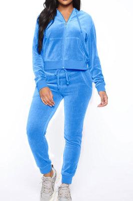 Light Blue Women Korea Velvet Ribber Spliced Pure Color Long Sleeve Cardigan Hooded Casual Pants Sets Q950-5