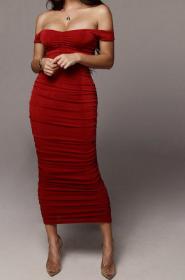 Red Ruffle Sexy A Word Shoulder Bodycon Pure Color Korea Velvet Long Dress MY9351-3