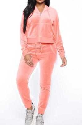 Pink Women Korea Velvet Ribber Spliced Pure Color Long Sleeve Cardigan Hooded Casual Pants Sets Q950-1