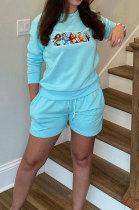 Light Blue Casual Pattern Print Long Sleeve Round Neck T-Shirt Shorts Sport Sets ZNN9109-1