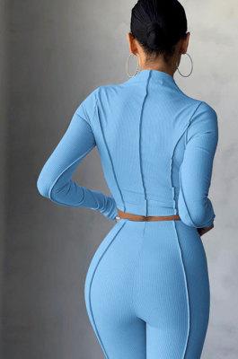 Light Blue Women Autumn Mid High Collar Ribber Solid Color Bodycon High Waist Pants Sets Q959-5
