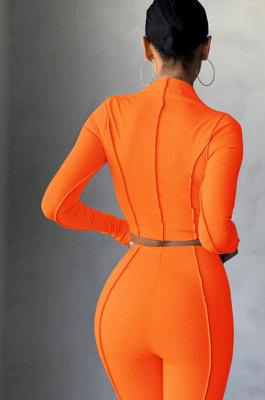 Orange Women Autumn Mid High Collar Ribber Solid Color Bodycon High Waist Pants Sets Q959-3