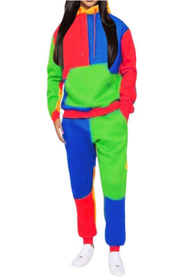 Green Newest Spliced Long Sleeve Hoodie Sweat Pants Two-Piece YMT6186-3