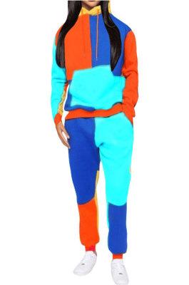 Peacock Blue Newest Spliced Long Sleeve Hoodie Sweat Pants Two-Piece YMT6186-1