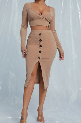 Khaki Sexy Long Sleeve Low-Cut Crop Tops Button Front Wrap Skirts Sets YNS1626