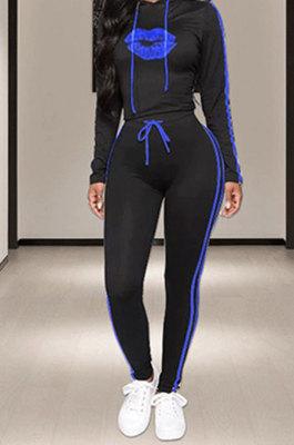 Royal Blue Side Stripe Lips Print Long Sleeve Hoodie Sweat Pants Casual Sets YMT6233-1