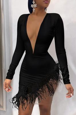 Feather Hem V Neck Dress in Black