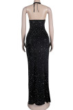 Black Sexy Night Club Hot Drilling Crystal Long Dress K6013-1
