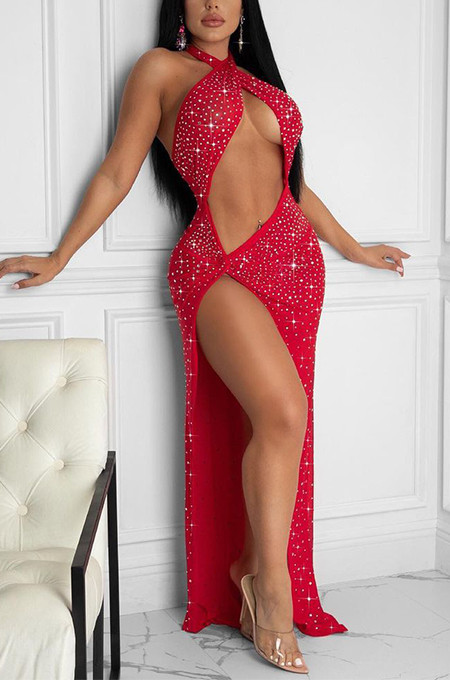 Red Sexy Night Club Hot Drilling Crystal Long Dress K6013-2
