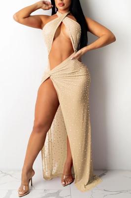 Apricot Sexy Night Club Hot Drilling Crystal Mesh See Through Long Dress XZ5326-4