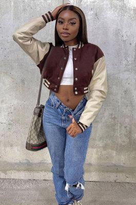 Brown Women Spliced Contrast Color Long Sleeve Pocket Jacket MOL171-3
