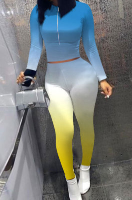 Lake Blue Wholesale New Gradient Long Sleeve Zip Front Top Bodycon Pants Slim Fitting Sets XMC6070-5