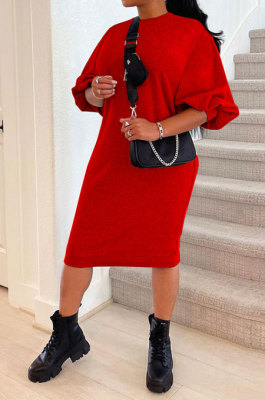 Red Women Fashion Casual Pure Color Loose Midi Dress GLS10031-3