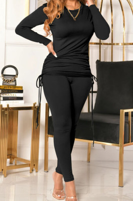 Black Women Long Sleeve Tight Solid Color Drawsting Casual Round Collar Pants Sets FMM2079-2