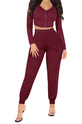 Wine Red Womwn Autumn Long Sleeve V Collar Zipper Pure Color Sexy Bodycon Pants Sets FMM2051-3
