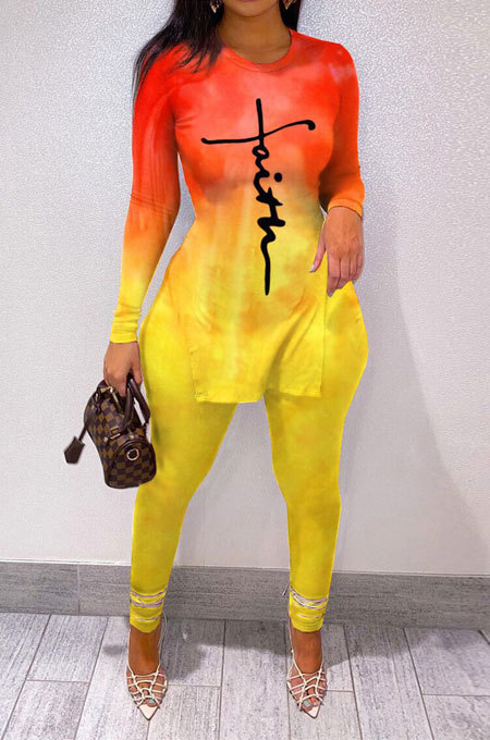 Yellow Wholesale Print Long Sleeve Round Neck Top Bodycon Pants Sets YNS1677-1