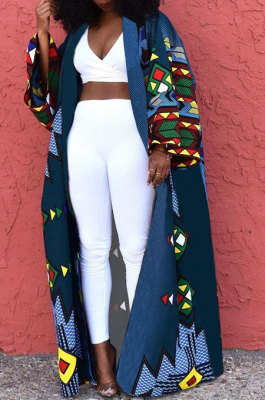 Blue Women Fashion Joket Long Cardigan Loose Printing Jacket NO Waistband DY6943-5