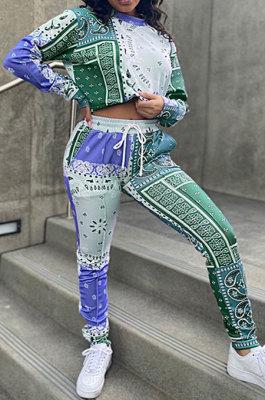 Green Blue Women Autumn Winter Fashion Casual Sport Round Collar Paisley Pants Sets GLS10030-2