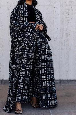 Black Women Fashion Joket Long Cardigan Loose Printing Jacket Plus Size Tops DY69431-3