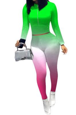 Neon Green Wholesale New Gradient Long Sleeve Zip Front Top Bodycon Pants Slim Fitting Sets XMC6070-3