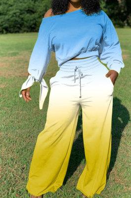 Lake Blue Newest Gradient Long Sleeve Loose Top Wide Leg Pants Casual Sets XMC6050-6