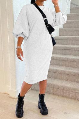 White Women Fashion Casual Pure Color Loose Midi Dress GLS10031-2
