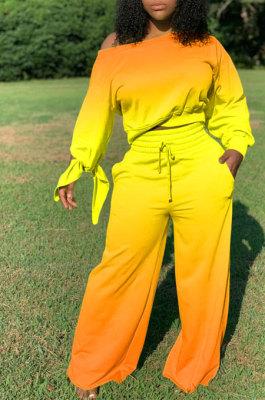 Orange Yellow Newest Gradient Long Sleeve Loose Top Wide Leg Pants Casual Sets XMC6050-3