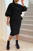Black Women Fashion Casual Pure Color Loose Midi Dress GLS10031-4