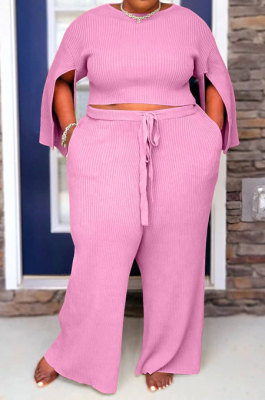 Pink Fat Woman New Slit Sleeve Round Neck Top Wide Leg Pants Solid Color Sets SY8824-3