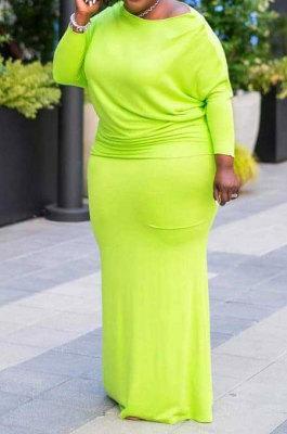Neon Green Big Yrads Cotton Blend Long Sleeve Round Neck Collcet Waist Fat Woman Maxi Dress SY8825-4