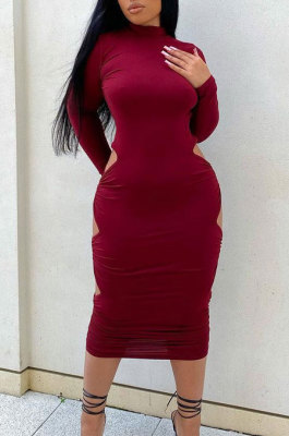 Wine Red Sexy Pure Color Long Sleeve High Neck Hollow Out Ruffle Backless Bodycon Dress PQ8060